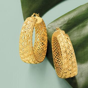 "Italian 18kt Gold Over Sterling Openwork Hoop Earrings. 1 1/2"""