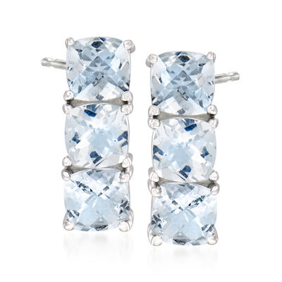 3.50 ct. t.w. Aquamarine Three-Stone Earrings in Sterling Silver , , default