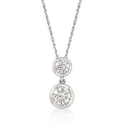 .75 ct. t.w. Diamond Double Bezel Drop Pendant Necklace in 14kt White Gold, , default