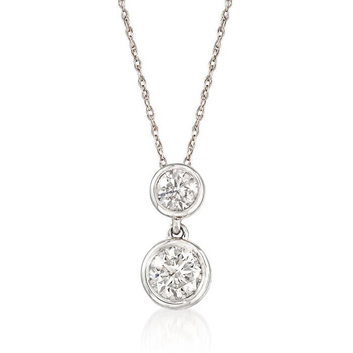 """.75 ct. t.w. Diamond Double Bezel Drop Pendant Necklace in 14kt White Gold. 16"""", , default"""