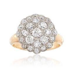 C. 1920 Vintage 1.10 ct. t.w. Diamond Cluster Ring in 14kt Two-Tone Gold. Size 5.75, , default