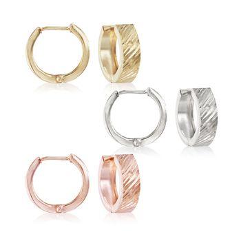 "Tri-Colored Sterling Silver Jewelry Set: Three Pairs of Hoop Earrings. 5/8"", , default"