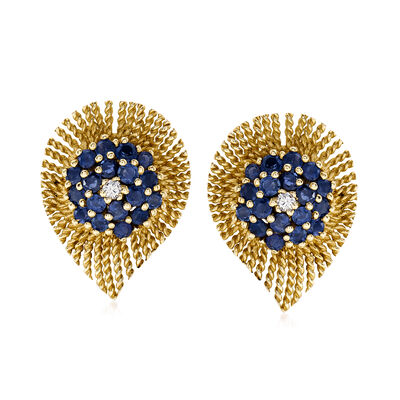 C. 1970 Vintage 4.00 ct. t.w. Sapphire and .15 ct. t.w. Diamond Earrings in 14kt Yellow Gold