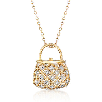 C. 1990 Vintage .25 ct. t.w. Diamond Purse Pendant Necklace in 14kt Yellow Gold, , default