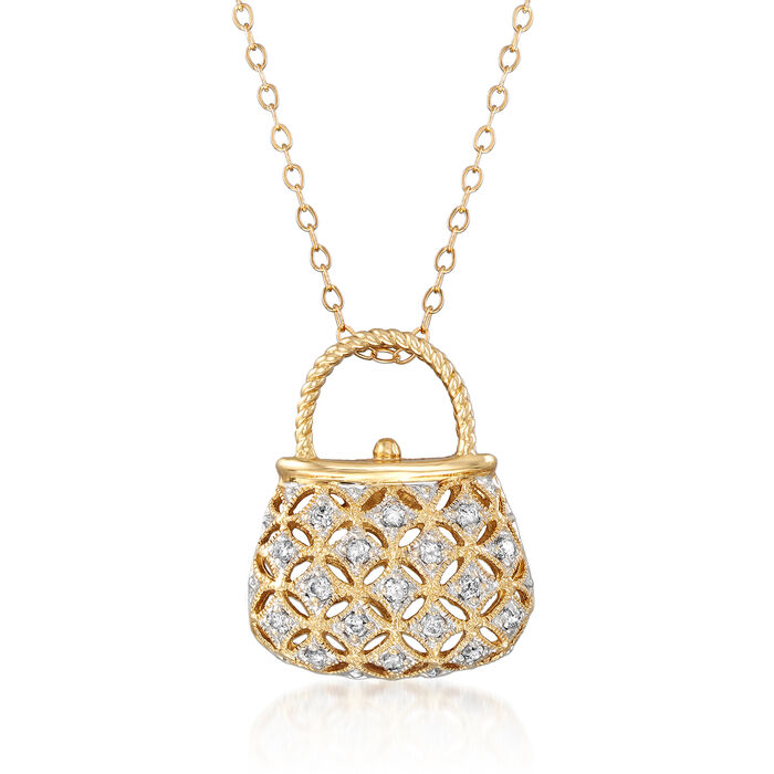 "C. 1990 Vintage .25 ct. t.w. Diamond Purse Pendant Necklace in 14kt Yellow Gold. 18"", , default"
