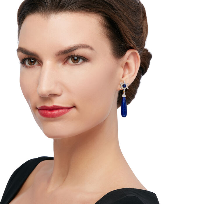 Lapis and 1.70 ct. t.w. White Zircon Drop Earrings in 18kt Gold Over Sterling