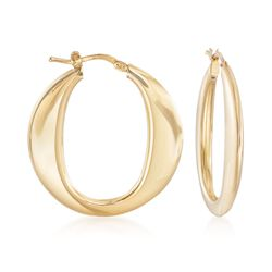 "Italian 18kt Gold Over Sterling Silver Hoop Earrings. 1 1/4"", , default"