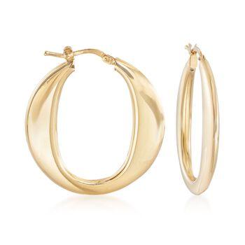 "Italian 18kt Gold Over Sterling Silver Hoop Earrings. 1 1/4"", , default"