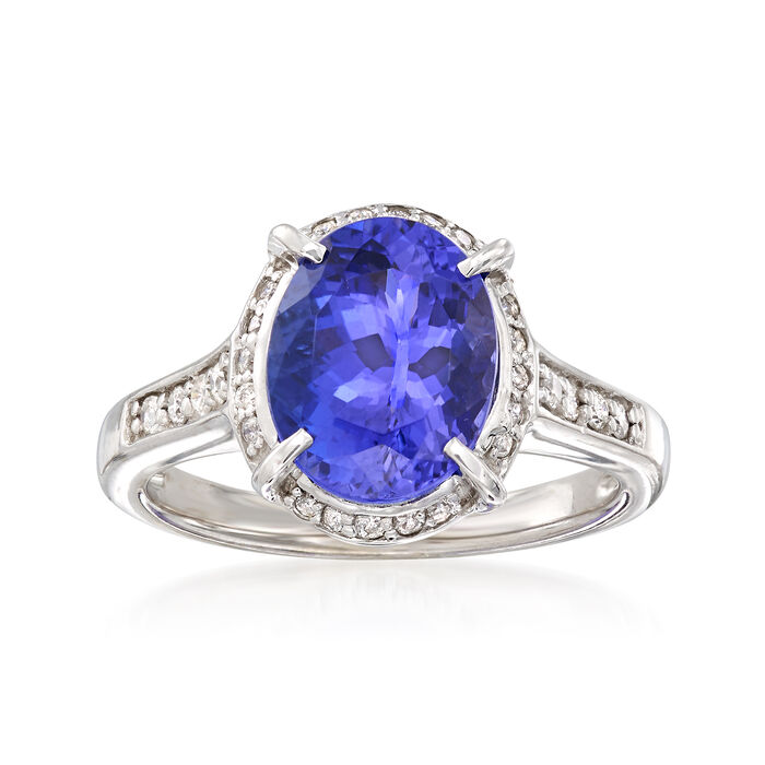 3.20 Carat Tanzanite and .25 ct. t.w. Diamond Ring in 14kt White Gold, , default
