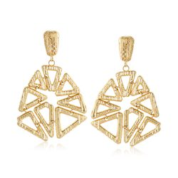 Italian 14kt Yellow Gold Open Geometric Drop Earrings, , default