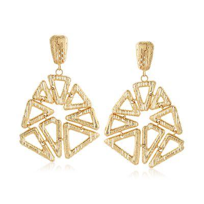Italian 14kt Yellow Gold Open Geometric Drop Earrings, , default