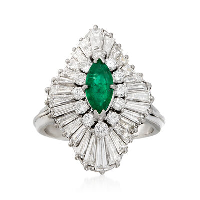 C. 1970 Vintage .45 Carat Emerald and 2.35 ct. t.w. Diamond Cocktail Ring in 14kt White Gold
