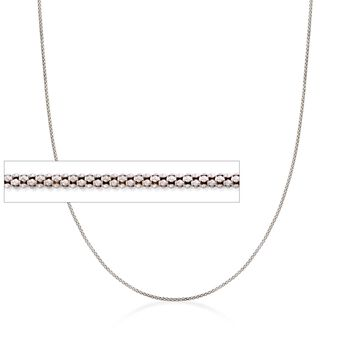 "Italian 1.4mm Sterling Silver Adjustable Slider Popcorn Chain Necklace. 24"", , default"