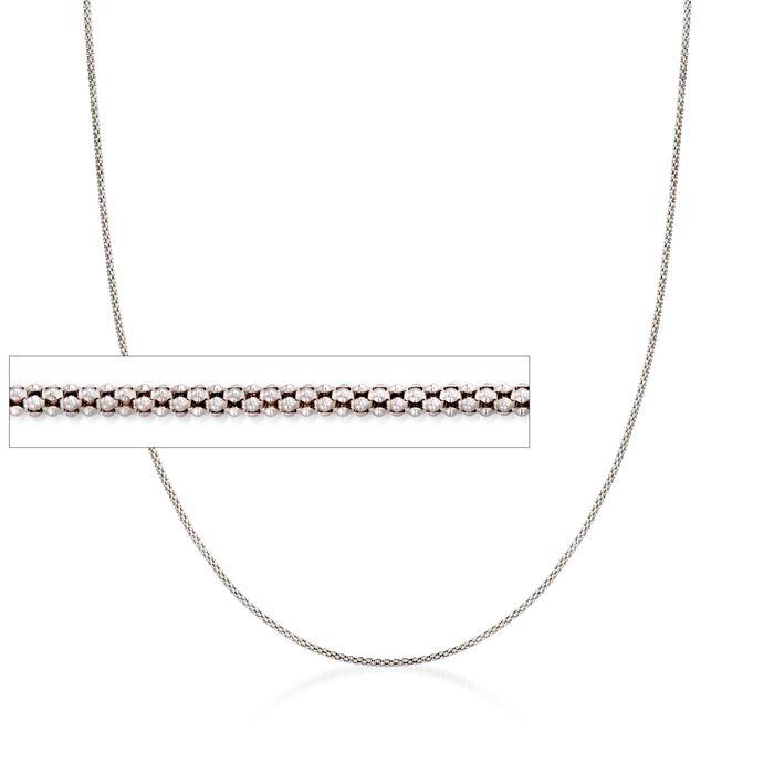 "Italian 1.4mm Sterling Silver Adjustable Slider Popcorn Chain Necklace. 24"", , default"