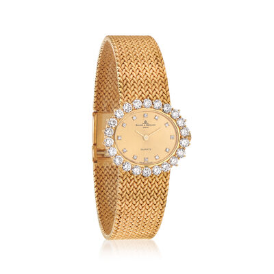 C. 1980 Vintage Baume et Mercier Women's 2.30 ct. t.w. Diamond Oval Face Watch in 18kt Yellow Gold, , default