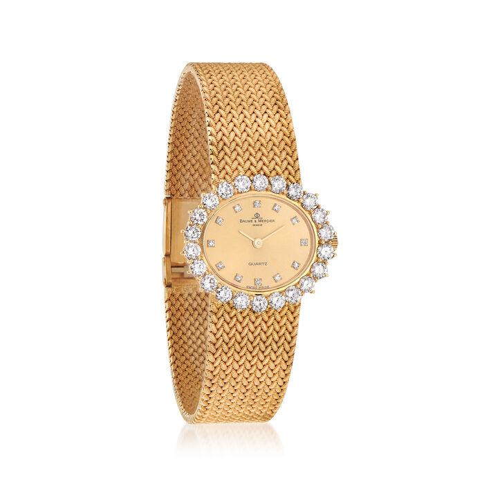 C. 1980 Vintage Baume et Mercier Women's 2.30 ct. t.w. Diamond Oval Face Watch in 18kt Yellow Gold. Size 7.25, , default
