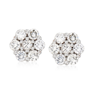 C. 1990 Vintage 1.40 ct. t.w. Diamond Cluster Stud Earrings in 14kt White Gold, , default