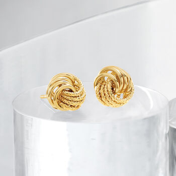 Italian 14kt Yellow Gold Textured and Polished Swirl Stud Earrings, , default