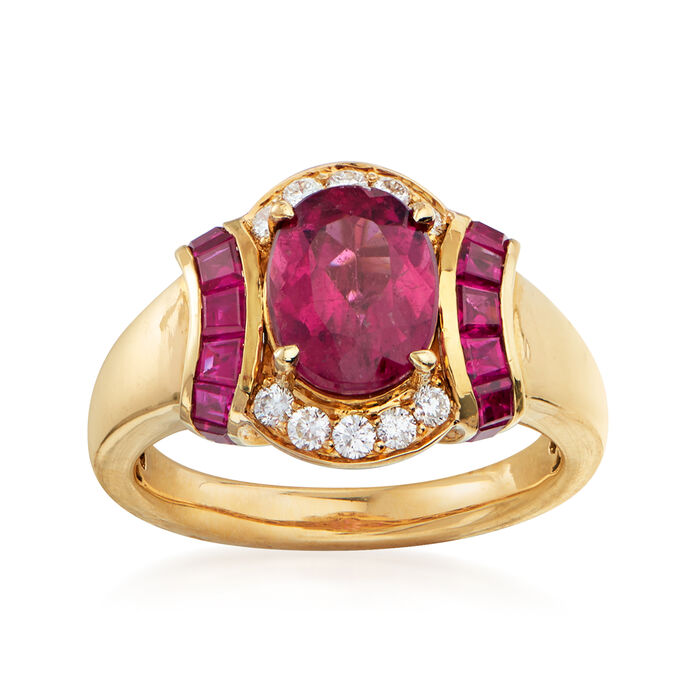 2.10 Carat Pink Tourmaline, 1.00 ct. t.w. Ruby and .21 ct. t.w. Diamond Ring in 14kt Yellow Gold