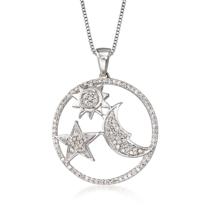 .34 ct. t.w. Diamond Moon and Star Pendant Necklace in Sterling Silver