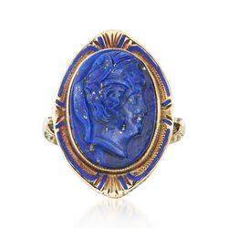 C. 1910 Vintage Carved Lapis Profile and Blue Enamel Ring in 14kt Yellow Gold. Size 4.75, , default