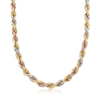 "Italian 8mm 18kt Tri-Colored Gold Rope Chain Necklace. 18"", , default"