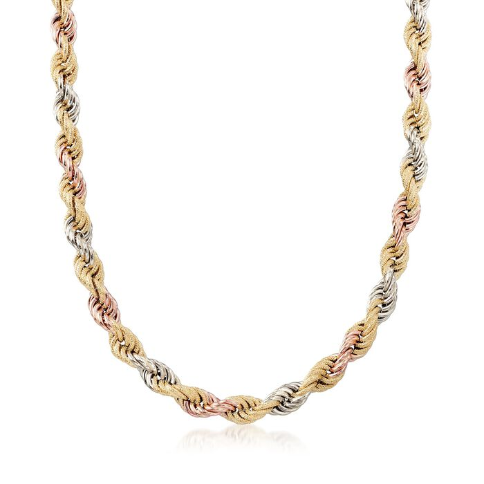 """Italian 8mm 18kt Tri-Colored Gold Rope Chain Necklace. 18"""", , default"""