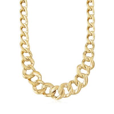 Italian Andiamo 14kt Yellow Gold Graduated Link Necklace, , default