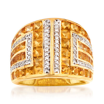4.90 ct. t.w. Citrine and .50 ct. t.w. White Zircon Geometric Ring in 18kt Gold Over Sterling