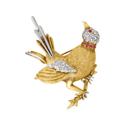 C. 1960 Vintage 1.00 ct. t.w. Diamond and .25 ct. t.w. Ruby Bird Pin in 14kt Yellow Gold