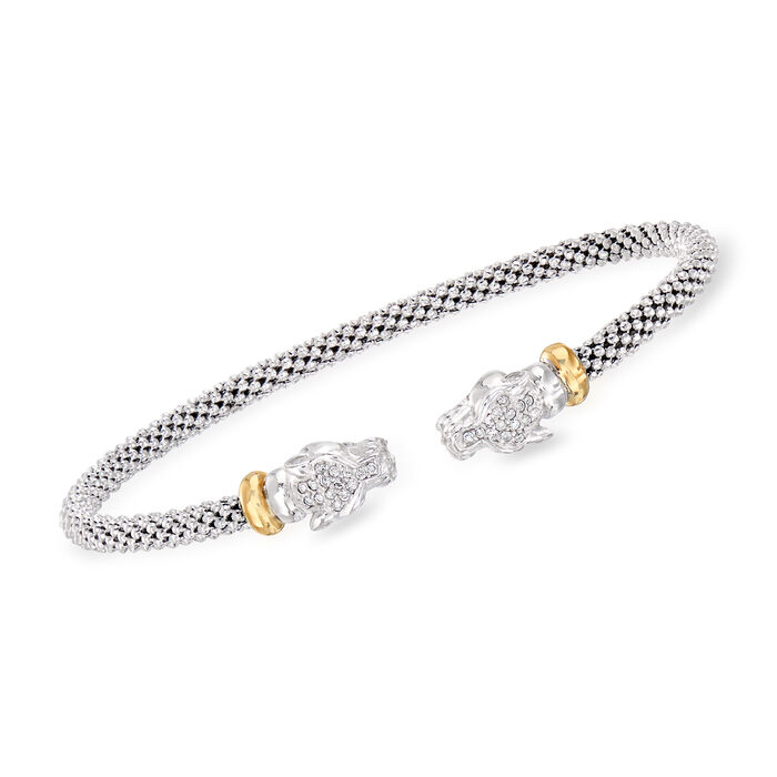 """Phillip Gavriel """"Popcorn"""" .15 ct. t.w. Diamond Panther Cuff Bracelet in Sterling Silver and 18kt Yellow Gold. 7"""", , default"""