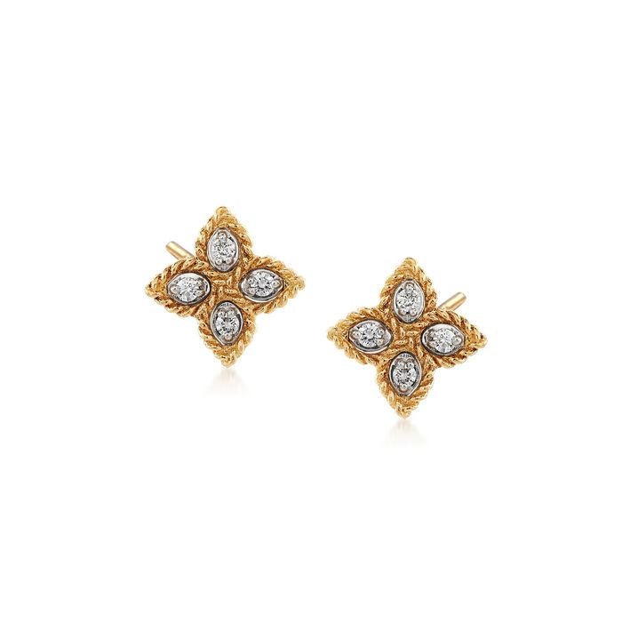 "Roberto Coin ""Princess"" 18kt Yellow Gold Flower Stud Earrings with Diamond Accents"