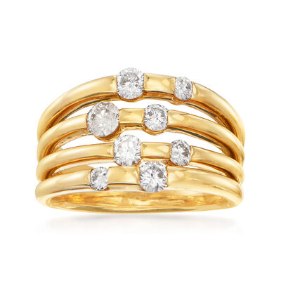 C. 1990 Vintage 1.10 ct. t.w. Diamond Multi-Row Ring in 14kt Yellow Gold, , default