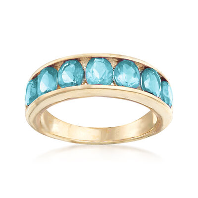 2.80 ct. t.w. Blue Topaz Eternity Band in 14kt Yellow Gold