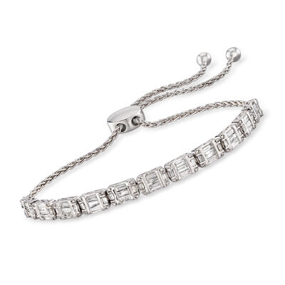 1.00 ct. t.w. Diamond Bolo Bracelet in Sterling Silver