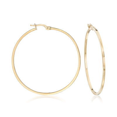 Italian 1.5mm 18kt Yellow Gold Squared Hoop Earrings, , default