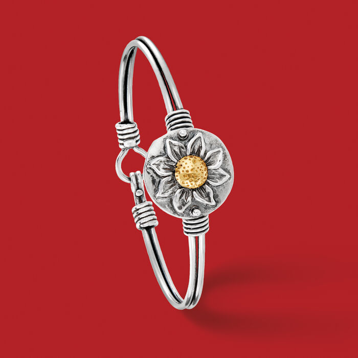 Sterling Silver Sunflower Bangle Bracelet with 14kt Yellow Gold