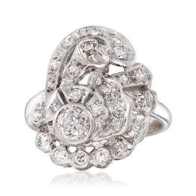 C. 1980 Vintage .75 ct. t.w. Diamond Swirl Cocktail Ring in Platinum, , default