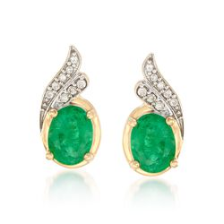 2.10 ct. t.w. Emerald and .11 ct. t.w. Diamond Earrings in 14kt Yellow Gold, , default