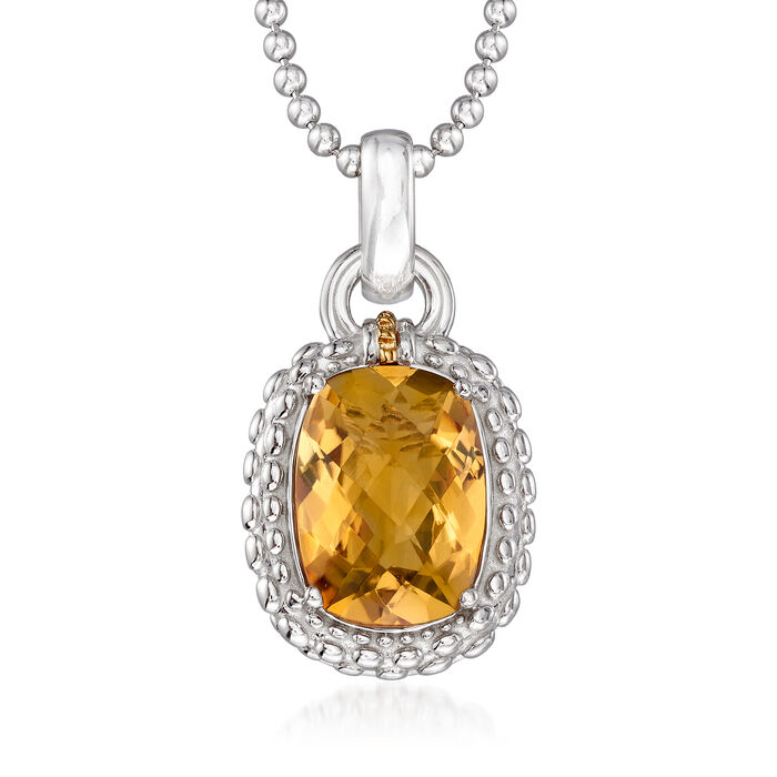 "Phillip Gavriel ""Popcorn"" 5.00 Carat Yellow Quartz Pendant Necklace in Sterling Silver with 18kt Yellow Gold. 18"", , default"