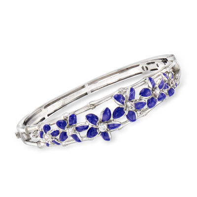"Belle Etoile ""Leilani"" Blue Enamel and .62 ct. t.w. CZ Flower Bangle Bracelet in Sterling Silver, , default"