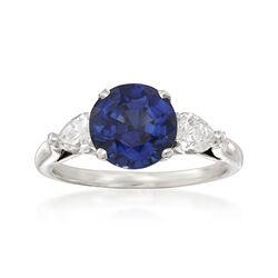 C. 2000 Vintage 3.09 Carat Sapphire and .60 ct. t.w. Diamond Ring in Platinum, , default