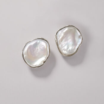 13-14mm Bezel-Set Cultured Keshi Pearl Earrings in Sterling Silver, , default