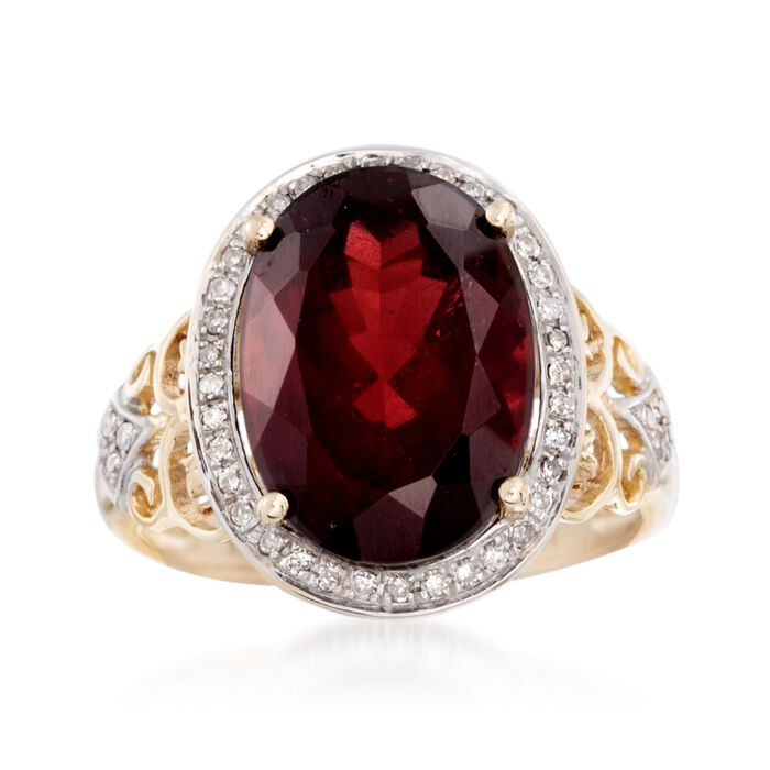 8.50 Carat Garnet and .19 ct. t.w. Diamond Ring in 14kt Yellow Gold, , default