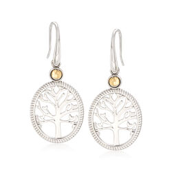 Sterling Silver and 14kt Yellow Gold Tree of Life Drop Earrings , , default