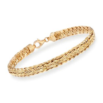 14kt Yellow Gold Wheat Bracelet, , default