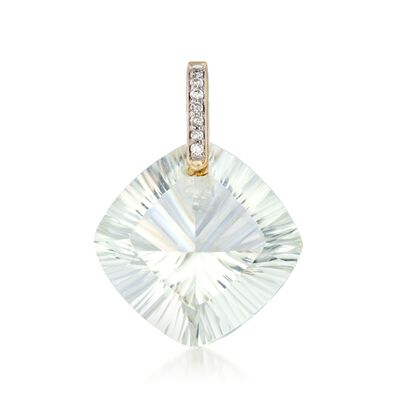 18.00 Carat Cushion-Cut Green Prasiolite Pendant with Diamond Accents in 14kt Yellow Gold, , default