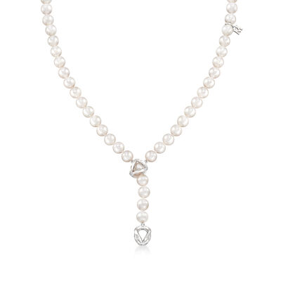"Mikimoto  ""Everyday Essentials"" 7-7.5mm 'A' Akoya Pearl Lariat Necklace in 18kt White Gold"