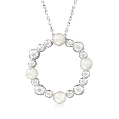 4mm Cultured Pearl and Sterling Silver Open-Space Circle Pendant Necklace