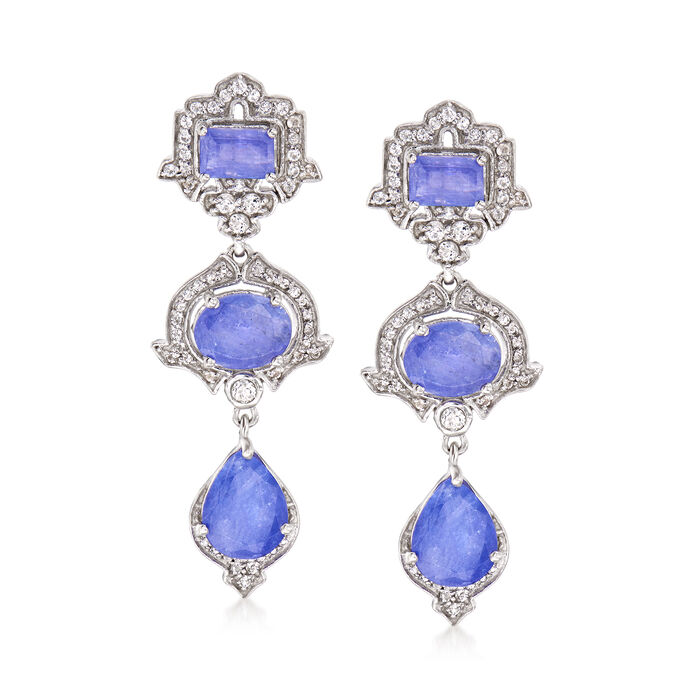 6.40 ct. t.w. Tanzanite and .80 ct. t.w. White Topaz Three-Tier Drop Earrings in Sterling Silver, , default